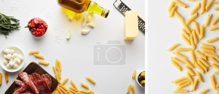 Photo for Collage of bottle of olive oil, meat platter, grater, pasta and ingredients on white background, panoramic shot - Royalty Free Image