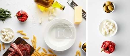 Photo for Collage of plate, bottle of olive oil, meat platter, grater, pasta and bowls with ingredients on white, panoramic shot - Royalty Free Image