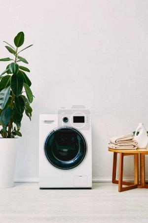 Photo pour Plante verte près de la machine à laver et table basse en bois avec serviettes et bouteille de détergent dans la salle de bain - image libre de droit
