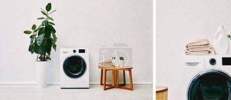 Photo pour Collage de plantes vertes près des machines à laver modernes, table basse avec serviettes et bouteilles de détergent dans la salle de bain - image libre de droit