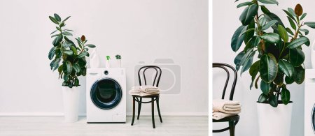 Photo for Collage of modern bathroom with plants, detergent bottles, towels and chairs near washing machine - Royalty Free Image