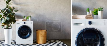collage of bottles, plants and towels on washing machines near laundry basket and ornamental carpet in modern bathroom
