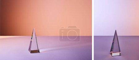 Photo pour Collage de cristal pyramide transparente avec réflexion de la lumière sur fond violet - image libre de droit