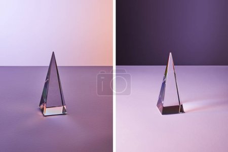 Photo for Collage of crystal transparent pyramid with light reflection on violet and purple background - Royalty Free Image