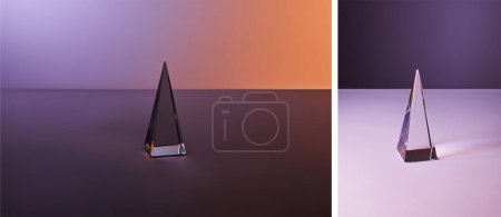 Foto de Collage of crystal transparent pyramid with light reflection on violet and purple background. - Imagen libre de derechos