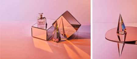 Photo pour Collage of crystal transparent pyramid near parfum bottle on box and round mirror on pink background - image libre de droit