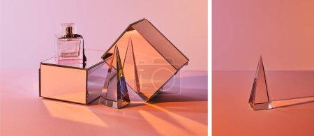 Photo pour Collage de pyramide cristalline transparente et bouteille de parfum avec cubes miroirs sur fond rose - image libre de droit