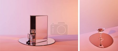 Photo for Collage of perfume bottle on round mirror with cube and cocktail glass on circle on pink background - Royalty Free Image