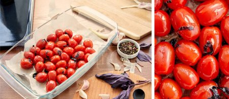 Collage of baking dish with tomatoes, basil leaves and garlic on cutting boards near bowl with pepper on wooden background, panoramic shot