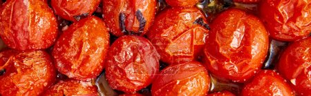 Photo for Top view of red cooked tomatoes, panoramic crop - Royalty Free Image