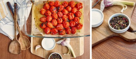 Photo for Collage of cooked tomatoes in baking dish, garlic and bowls with pepper and salt on cutting board near spatulas and napkin on wooden background - Royalty Free Image