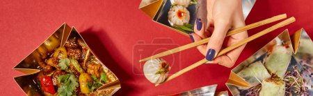 panoramic concept of woman holding chopsticks with steamed bun near tasty chinese food in takeaway boxes on red