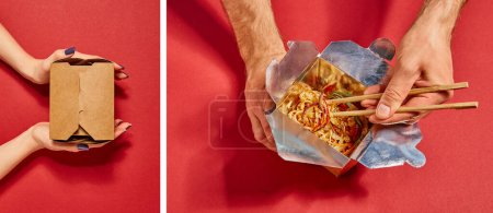 collage of man holding chopsticks near tasty noodles and woman touching carton box on red