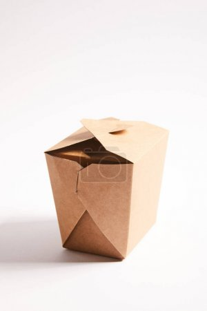 cardboard takeaway box with chinese food on white
