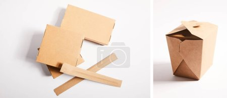collage of takeaway boxes with traditional chinese food and chopsticks on white