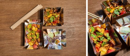 Photo for Collage of chopsticks near takeaway boxes with prepared chinese food with vegetables on wooden surface - Royalty Free Image