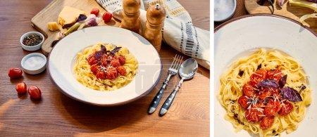Photo pour Collage de délicieuses pâtes aux tomates servies sur table en bois avec couverts, serviette, assaisonnement et ingrédients au soleil - image libre de droit