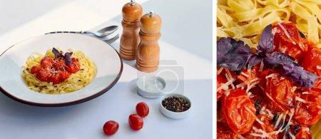 Collage köstlicher Pasta mit Tomaten, serviert mit Besteck, Salz- und Pfeffermühlen auf weißem Tisch im Sonnenlicht