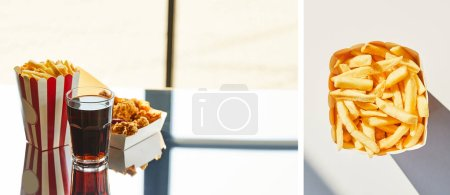 Photo for Collage of deep fried chicken, french fries and soda in glass on glass table in sunlight - Royalty Free Image