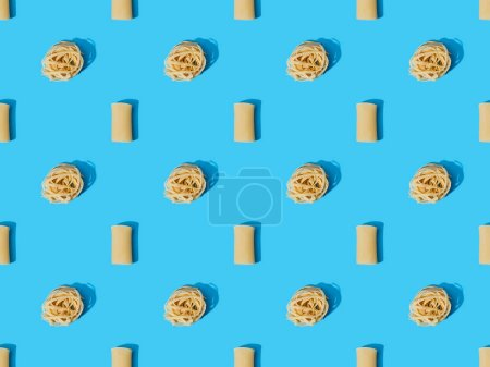 top view of fresh pasta on blue colorful background, seamless pattern