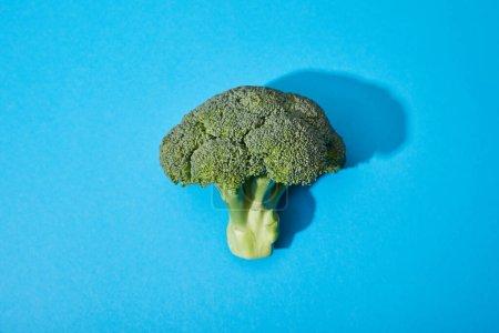 Photo pour Vue du dessus du brocoli vert frais sur fond bleu - image libre de droit