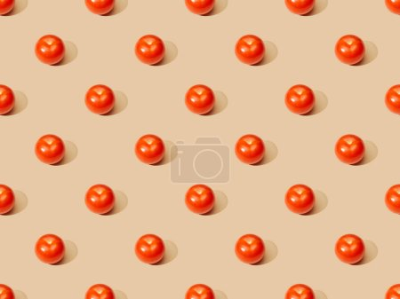 Photo for Ripe fresh tomatoes on beige background, seamless pattern - Royalty Free Image