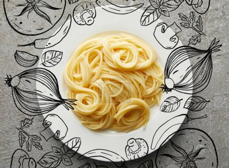 Photo for Top view of delicious spaghetti on plate on grey textured surface with vegetables illustration - Royalty Free Image