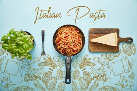 flat lay with delicious spaghetti with tomato sauce in frying pan near basil leaves and parmesan cheese on blue background with vegetables illustration