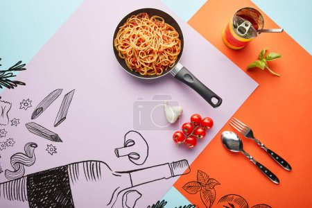 flat lay with delicious spaghetti with tomato sauce in frying pan near ingredients on red, blue and violet background with vegetables and wine illustration