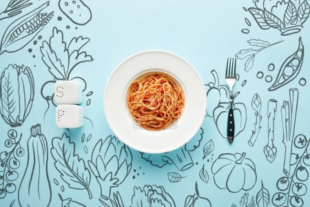 Photo for Flat lay with delicious spaghetti with tomato sauce near fork, salt and pepper shakers on blue background with vegetables illustration - Royalty Free Image