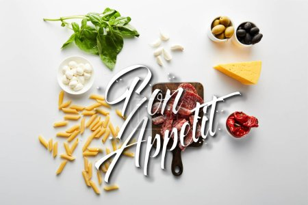 Top view of pasta, meat platter, cheese and ingredients on white, bon appetit illustration
