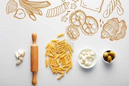 Photo pour Poser à plat avec ail, rouleau à pâtisserie, pâtes et bols avec olives et mozzarella sur fond blanc, illustration de nourriture - image libre de droit