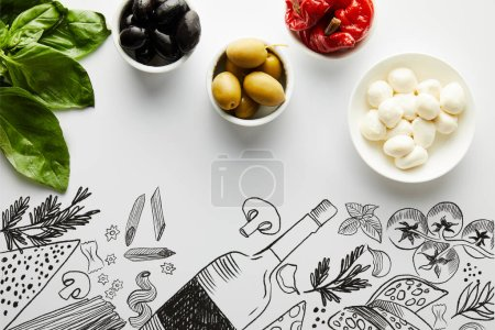 Photo for Top view of basil leaves and bowls with ingredients on white, food illustration - Royalty Free Image