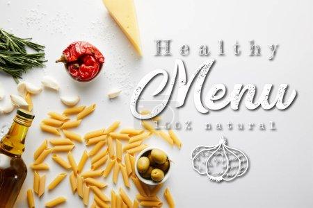 Photo pour Vue du dessus de bouteille d'huile d'olive, pâtes, fromage et ingrédients sur fond blanc, illustration du menu sain - image libre de droit