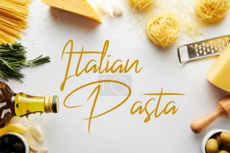 Photo for Top view of rolling pin, grater, bottle of olive oil, pasta and ingredients on white background, italian pasta illustration - Royalty Free Image
