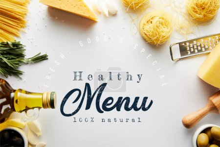 Photo for Top view of rolling pin, grater, bottle of olive oil, pasta and ingredients on white background, healthy menu illustration - Royalty Free Image