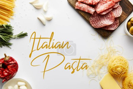 Top view of meat platter, pasta and ingredients on white background, italian pasta illustration