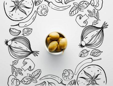 Top view of bowl with olives on white background, vegetables illustration