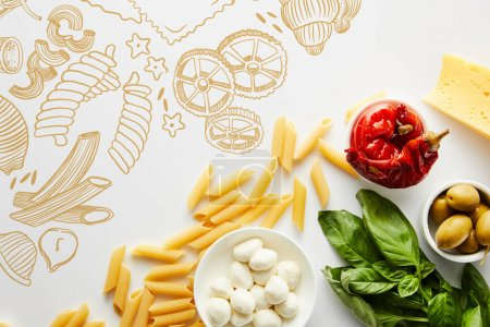 Photo for Top view of pasta, basil leaves, cheese and bowls with olives, marinated chili peppers and mozzarella on white background, food illustration - Royalty Free Image