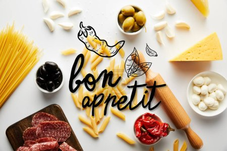 Photo for Top view of meat platter, rolling pin, pasta and ingredients on white background, bon appetit illustration - Royalty Free Image