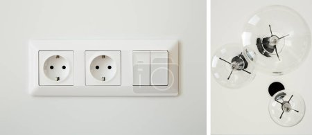 Foto de Collage of power sockets near switch and light bulbs. - Imagen libre de derechos
