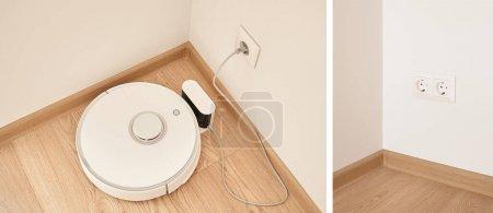 Photo pour Collage de d'aspirateur robotique moderne près de prises de courant sur le mur - image libre de droit