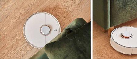Photo pour Collage d'aspirateurs robotiques modernes plancher de lavage dans le salon - image libre de droit
