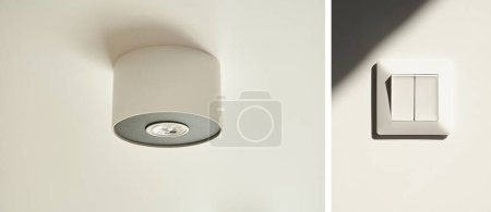 collage of halogen light bulb in lamp on white ceiling near switch in apartment