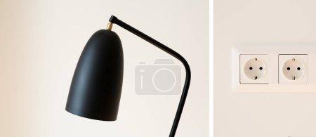 Photo pour Collage de lampe noire et moderne et prises de courant sur mur blanc - image libre de droit
