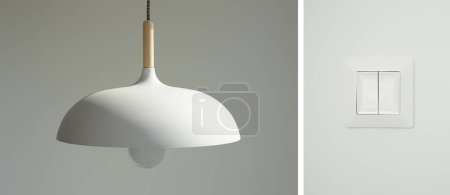 collage of modern switch and white lamp with light bulb