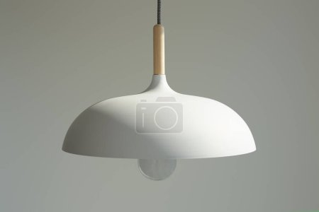 white and modern lamp with light bulb