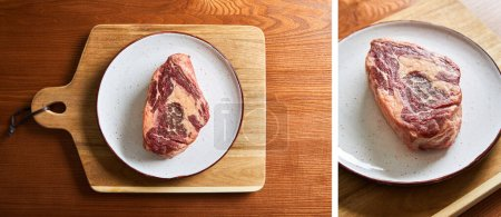 Photo for Top view of fresh raw steak on plate on cutting board on wooden table - Royalty Free Image