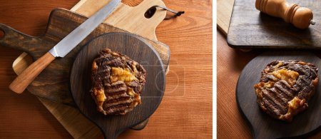 Photo for Collage of tasty grilled steak served on wooden boards with knife - Royalty Free Image