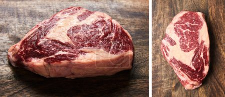 Photo for Collage of fresh raw steak on wooden cutting board - Royalty Free Image